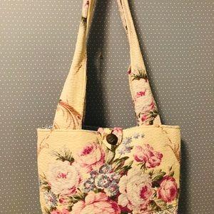 Handmade Pink Roses Barkcloth Tote Bag